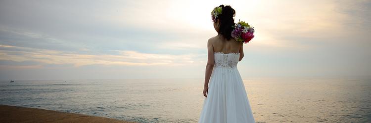 花嫁,海辺