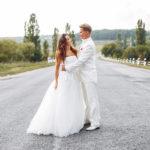 結婚式,道路,カップル